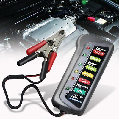 Car 12V Digital Battery Tester Two Clip Alternator 6 LED Display Indicator GA