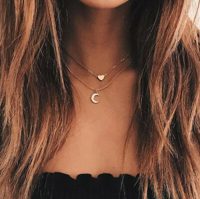 Gold Plated Necklace Double Layer Chain Choker Star Moon Pendant Girls Women
