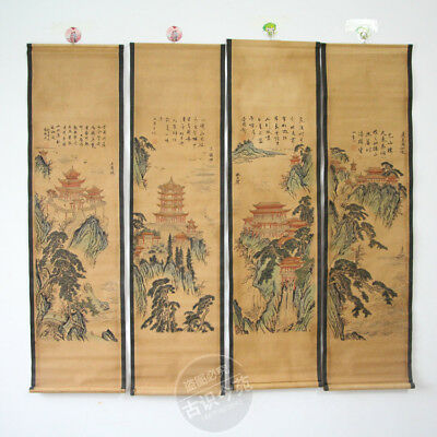 Antiques painting scroll Buildings Zhang Daqian 4 scrolls 张大千 四大名楼