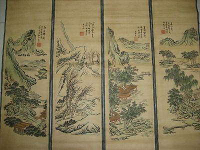 Chinese painting scroll Landscape Yuan Jiang 4 scrolls 4 season 袁江 春夏秋冬
