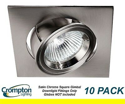 10 x Brushed Satin Chrome SQUARE Gimble Downlight Fittings 12V MR16 Gimbal
