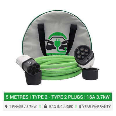 Type 2 to Type 2 EV charging cables 16A charger. 5 METRES cable. 5 yr warranty