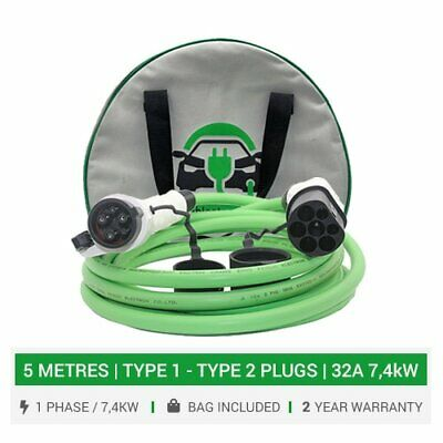 Type 2 - Type 1 EV charging cable & plugs 16/32A charger. 5M cable. 5yr wty +bag