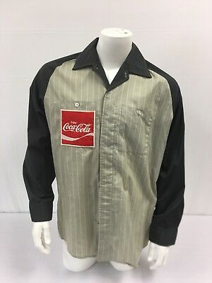 Vintage COCA-COLA Delivery Driver BUTTON UP Long Sleeve Shirt W Patch Old