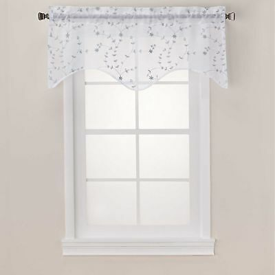 Caspia Scalloped Sheer Window Valance in White/Mint