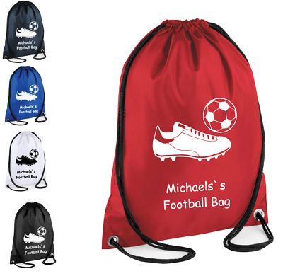 PERSONALISED Drawstring Bag FOOTBALL Trainers School Gym Shoes PE Kit Sport kids