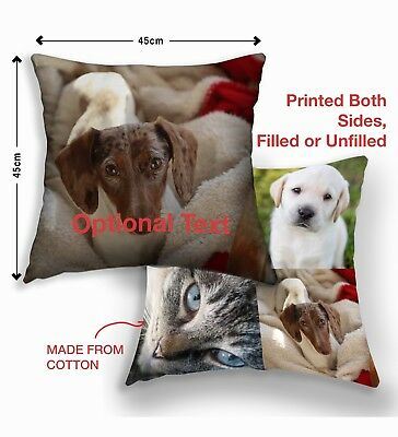 Personalised Pet Cushions Cover Dog Cat anyPrinted Photo Gift Custom Made Print