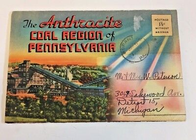 Vintage 1950's Anthracite Coal Region of Pennsylvania Picture Postcard Folder