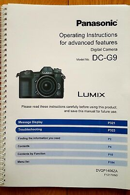 Panasonic Lumix Dc-G9 G9 Instruction Manual User Guide Printed A5