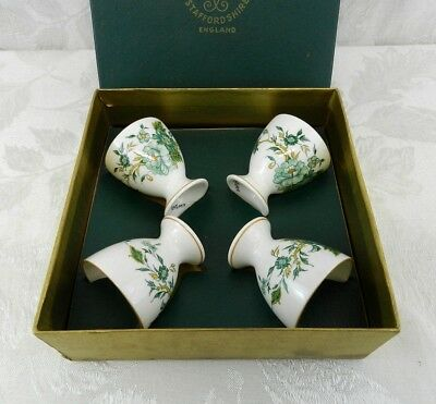 Vintage Egg Cups Crown Staffordshire Kowloon Pattern Original Box SET OF 4