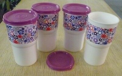 Tupperware Free Shipping  New 4 Tumblers Stackable Printed desing (350 ml)
