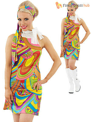 Ladies Miss Retro 60s 70s Hippie Costume Adults Hippy Fancy Dress Womens Outfit