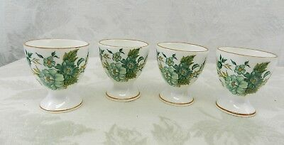 Vintage Egg Cups Crown Staffordshire Kowloon Pattern Original Box Pkg SET OF 4