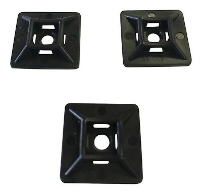 4 X 20mm SELF ADHESIVE STICK ON CABLE TIE WIRE BASE MOUNTS BLACK