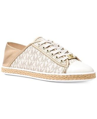 086aeea7f003 Michael Kors MK Women s Premium Kristy Slide Fashion Sneakers Shoes Vanilla  Gold