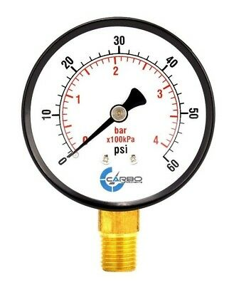 "Pool Spa Filter Water Pressure Gauge 0-60 PSI Size 2 1/2""  Lower Mount 1/4"" Inch"