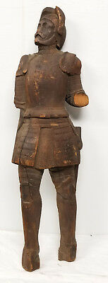 Antique Renaissance Style Carved German European Knight Wall Hanging Medieval