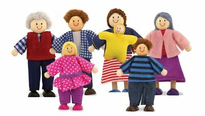 Melissa  Doug 7-Piece Poseable Wooden Doll Family for Dolls House 5-10 cm eac
