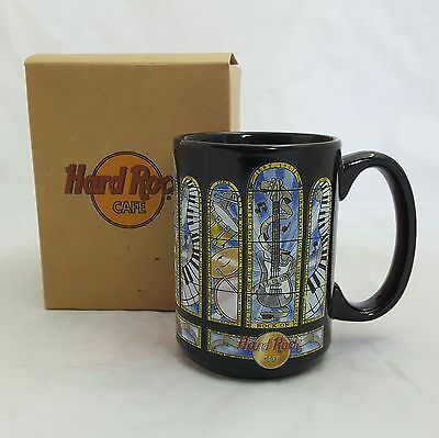 Dallas Hard Rock Cafe Coffee Mug Black  Stained Glass Drums Guitars Keyboards