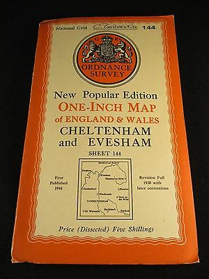 Vintage Ordnance Survey Sheet Cloth Map of Cheltenham  - No. 144  dated 1946