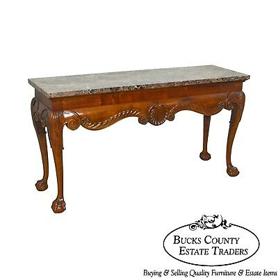Chippendale Style Carved Ball & Claw Marble Top Console Table