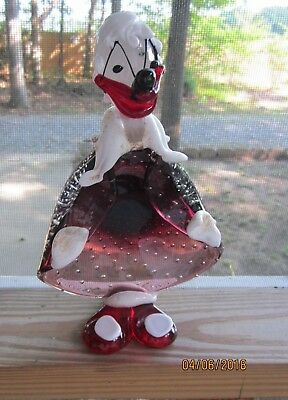 Vintage Italy Murano Clown Art Glass Ashtray Candy Dish Figurine Bubbled Sticker