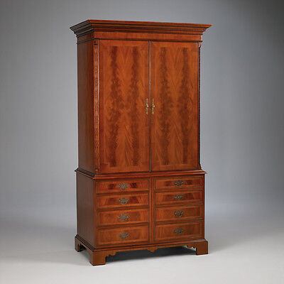Large Mahogany double door armoire with brass hardware