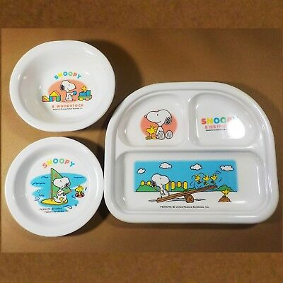 Peanuts Snoopy United Feature Syndicate Ware Dish Plate Set of 3 Divided child