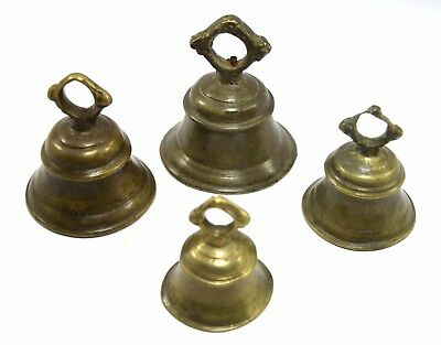 Pet Animal Bell Set Of 4 Handcrafted Original Old Indian Animal Ornaments. i9-57