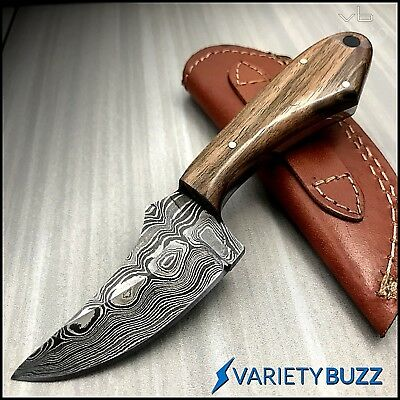 HAND MADE REAL DAMASCUS STEEL HUNTING KNIFE SKINNING CAMPING Wood Fixed Blade