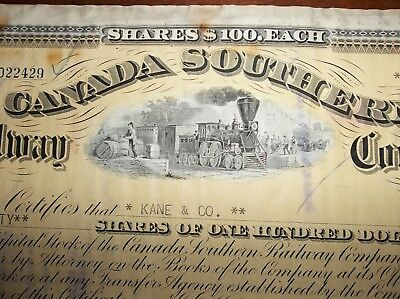 stock certificate Canada Southern Railway Company - circuated