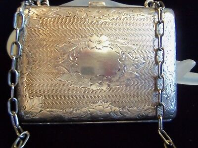 Antique Sterling Silver Purse  Wallet w Chain Engraved Flowers 133 gr Beautiful