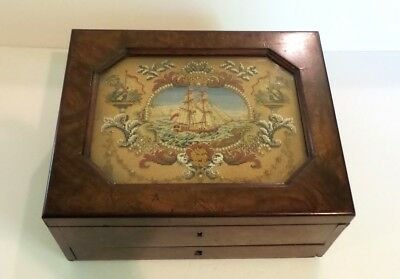 19th C. Rosewood Gaming Box, Inset Needlework, Lithographed Cards