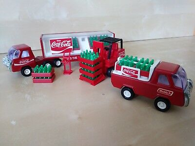 Vintage Buddy L Coca-Cola Delivery Truck Lot Forklift Trailer Coke Cases