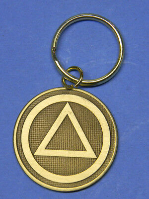 Keyring - Sobriety -Alcoholics Anonymous Triangle -   Bronze