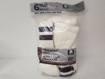 Vintage White Crew Tube Socks Stripe Top Full Cushioned Foot Package Of 6 NOS