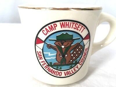 Vtg Boy Scouts OA ceramic mug Camp Whitsett San Fernando Valley Council BSA