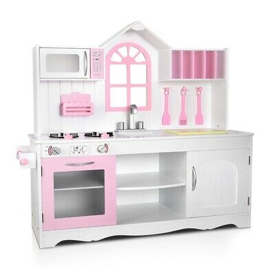 Wooden Kitchen Play Set Kids Girls Cute Cooking Table Chair Toy Box Pink White