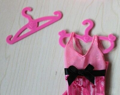 Qiyun 50 pcs Plastic Pink Hangers for Barbie Doll Dress Clothes Accessories