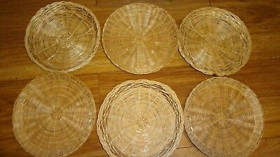 Straw Wicker Paper Plate Holders 9\  Lot of 6 Picnic Luau BBQ rattan c&out & STRAW WICKER PAPER Plate Holders 9\