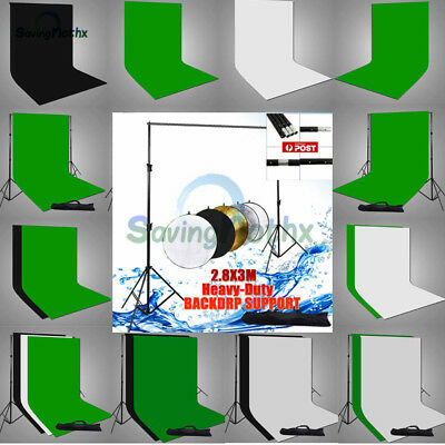 NEWLY-Photo Muslin Backdrop Black White Green Background Stand Support Kit-2019