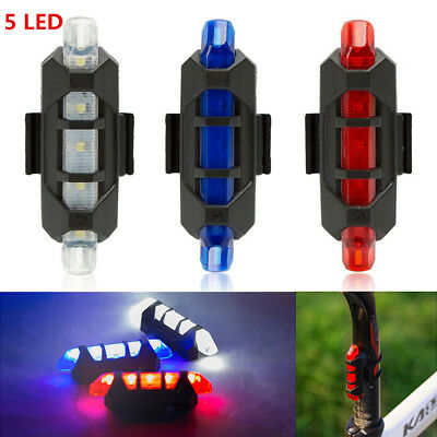 USB Rechargeable Bike Tail Light Bicycle Safety Cycling Warning Rear Lamp 5 LED