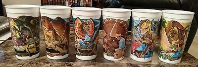 Jurassic Park McDonald's Dinosaur Cups Lot Complete Set of 6 Coca Cola 1992