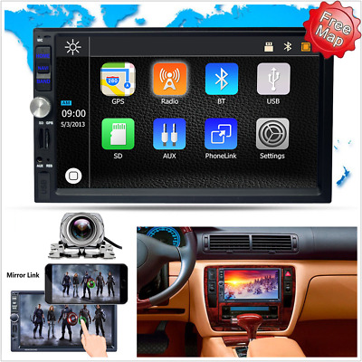 7'' Touchscreen Car MP5 Player Mirror Link BT Stereo GPS Head Unit Radio Camera