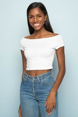 c2a5d0043d NEW! BRANDY MELVILLE white crop ribbed off shoulder Ellery top NWT ...
