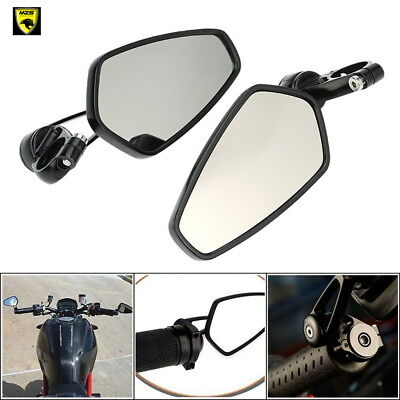 """1 set Universal Motorcycle 7/8"""" 22mm Handle Bar End Rearview Side Mirrors CNC US"""
