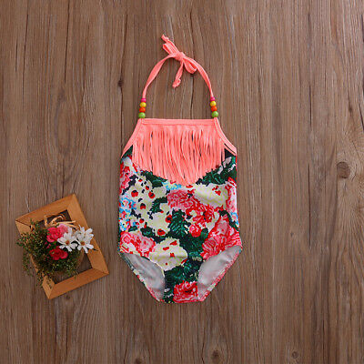 Toddler Baby Kids Girl Floral Prints Strap Bikini Swimsuit Swimwear Outfits Sets