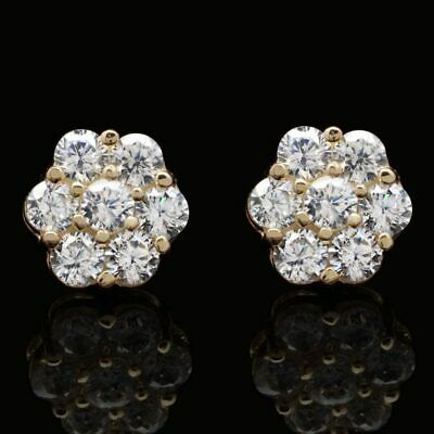 1.50Ct Round Created Diamond Flower Cluster Stud Earrings 14K Yellow Gold