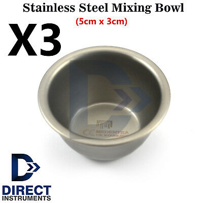 3Pcs Dental Surgical Implant Laboratory Cement Mixing Bowls Cup Hygienist Steel