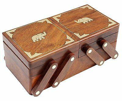 Vintage Wooden Jewelry Box Organizer Elephant Hand Carved Xmas New Year Gift